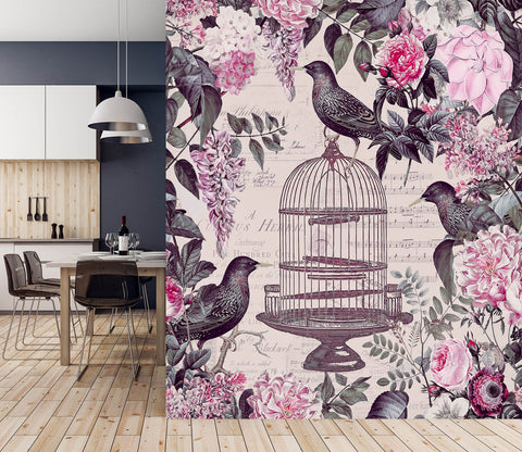 3D Birdcage And Flowers 1439 Andrea haase Wall Mural Wall Murals