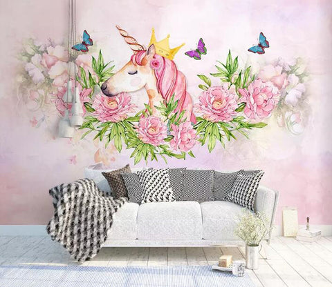 3D Unicorn Flower WG26 Wall Murals