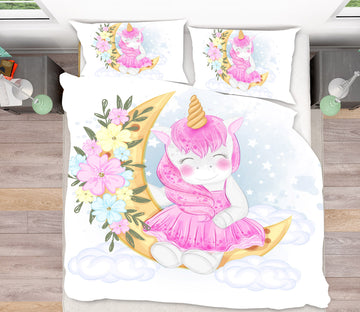 3D Moon Unicorn 64036 Bed Pillowcases Quilt