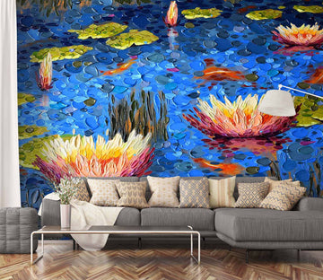 3D Painted Lotus 1405 Dena Tollefson Wall Mural Wall Murals
