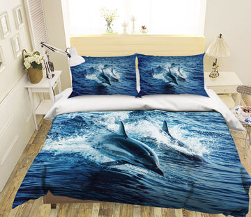 3D Cute Dolphin 1929 Bed Pillowcases Quilt