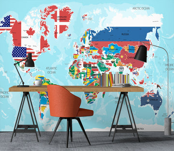 3D World Map 1104 Wall Murals