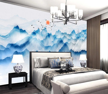 3D Blue Mountain WC684 Wall Murals