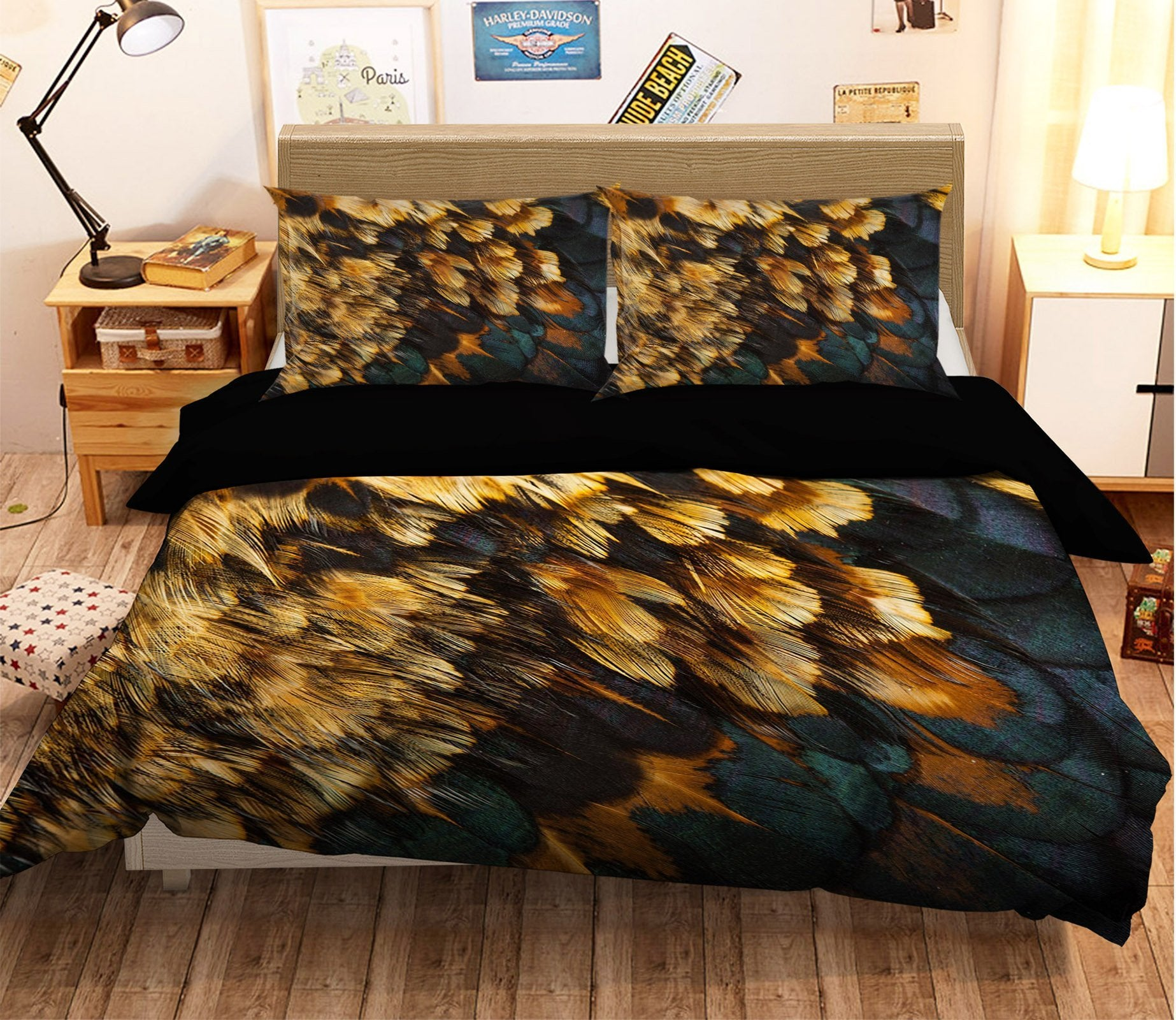 3D Graffiti Orange Feather 011 Bed Pillowcases Quilt Wallpaper AJ Wallpaper