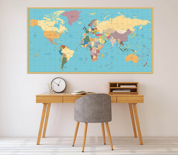 3D Color World Map 1078 Wall Sticker