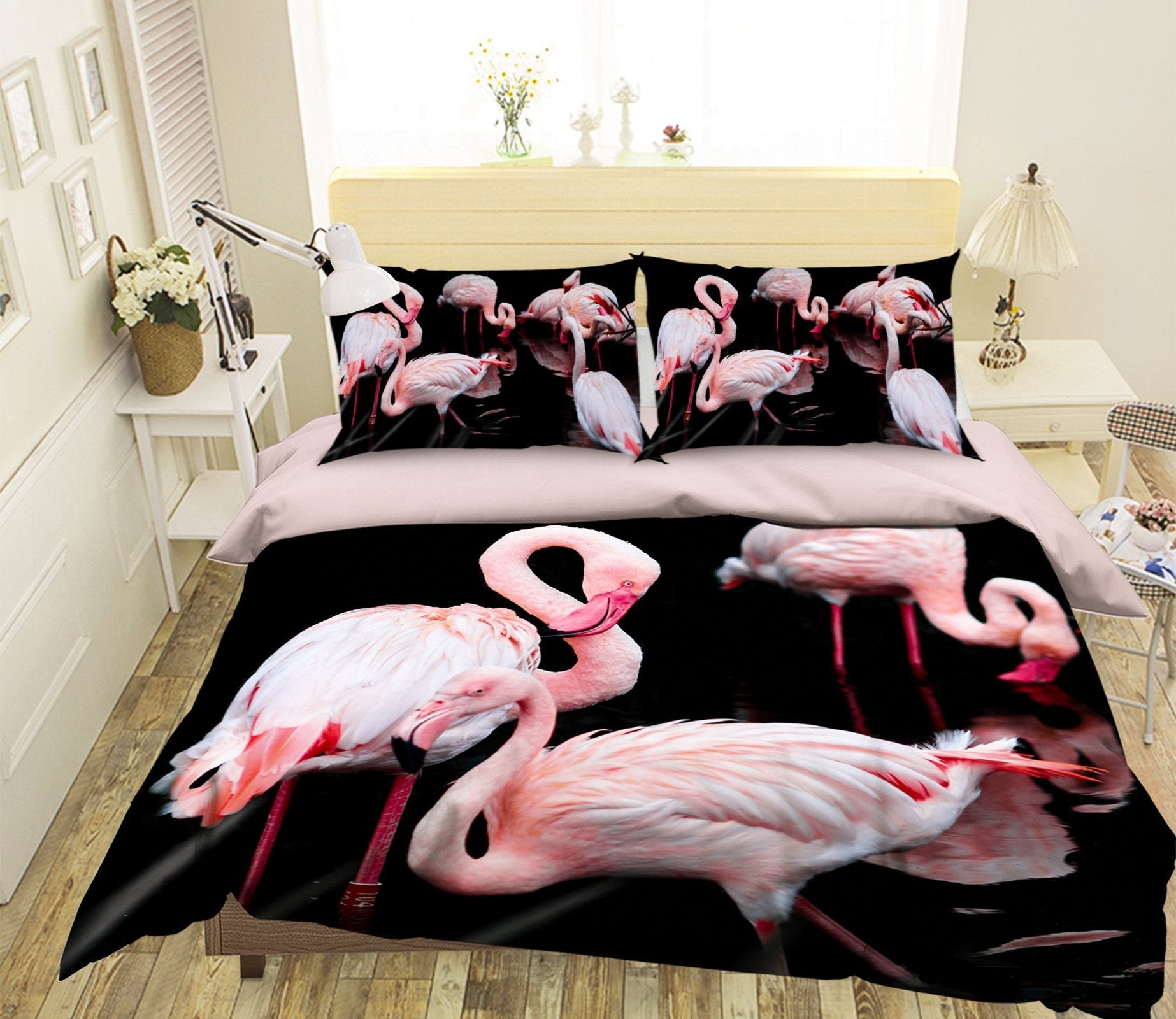 3D Pink Flamingo 1985 Bed Pillowcases Quilt