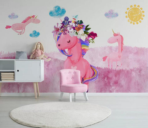 3D Pink Unicorn WC61 Wall Murals