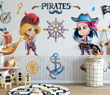 3D Ship Pirate WC501 Wall Murals