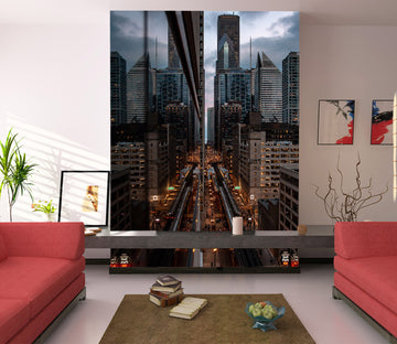 3D Buildings Night 426 Vehicle Wall Murals