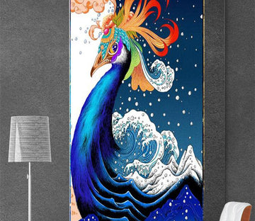 3D Blue Peacock 496 Wall Murals