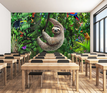 3D Forest Sloth 1427 Adrian Chesterman Wall Mural Wall Murals