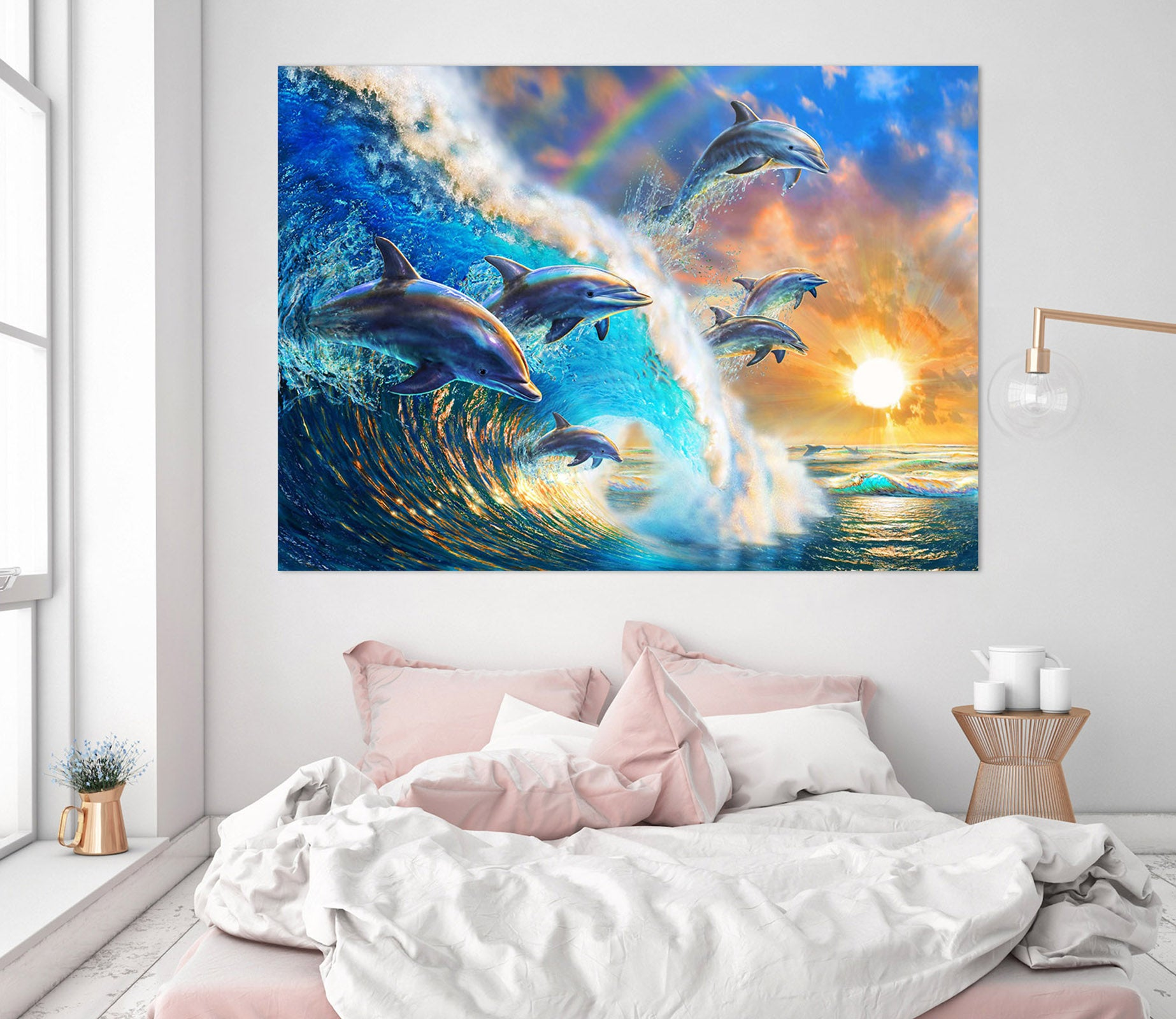 3D Dolphin Wave 019 Adrian Chesterman Wall Sticker