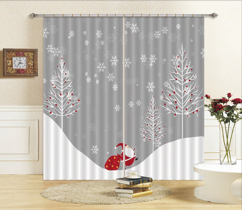 3D Snowflake Fat Old Man 61 Curtains Drapes