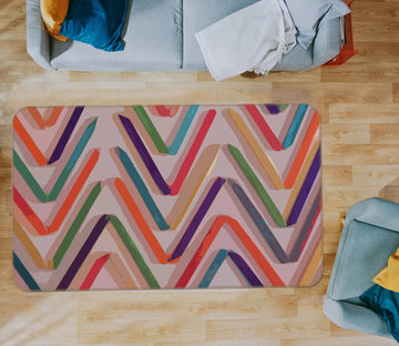 3D Colored Wavy Lines 71027 Shandra Smith Rug Non Slip Rug Mat