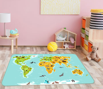 3D Sea Island 322 World Map Non Slip Rug Mat
