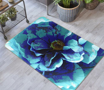 3D Blue Flower 71022 Shandra Smith Rug Non Slip Rug Mat