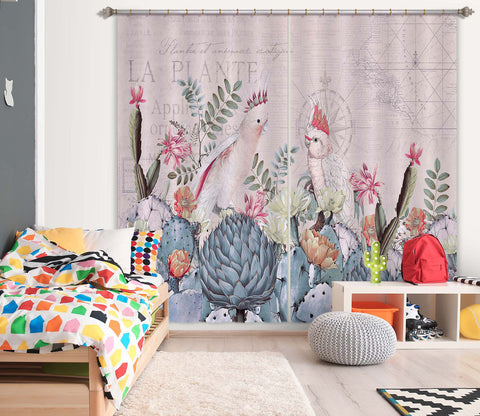 3D Flower Bird 051 Andrea haase Curtain Curtains Drapes
