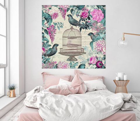 3D Birdcage And Flowers 002 Andrea haase Wall Sticker