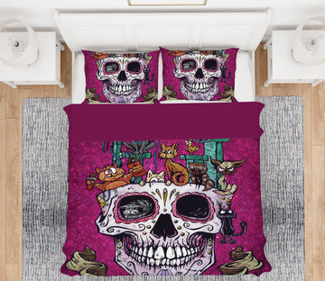 3D Skull Flower Pot 105 David Lozeau Bedding Bed Pillowcases Quilt