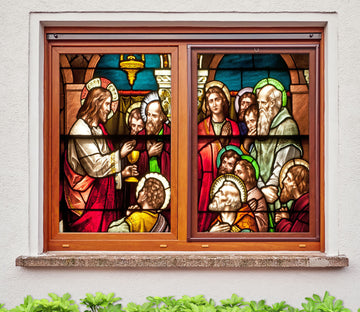 3D Christ Holy Water 285 Window Film Print Sticker Cling Stained Glass UV Block