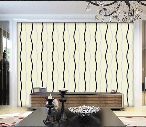 3D Black Wave 010 Wall Murals