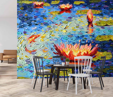 3D Painted Lotus 1406 Dena Tollefson Wall Mural Wall Murals