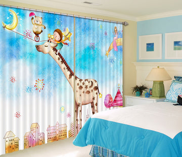 3D Cute Giraffe 732 Curtains Drapes