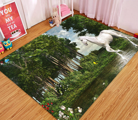 3D Riverside Unicorn 05 Non Slip Rug Mat Mat AJ Creativity Home