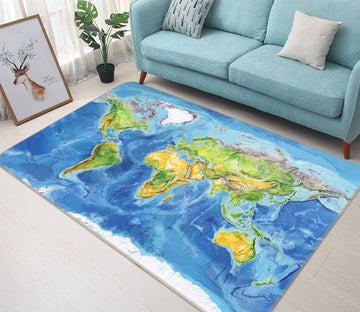 3D Blue Ocean 295 World Map Non Slip Rug Mat