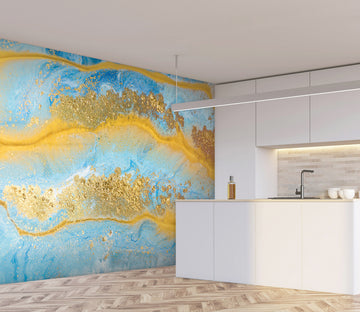 3D Golden Abstract Graphics 35 Wall Murals