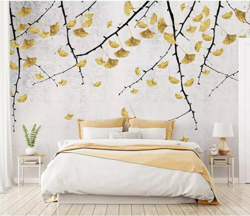 3D Ginkgo Leaves WC60 Wall Murals