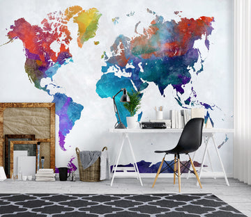 3D Color World Map 1003 Wall Murals