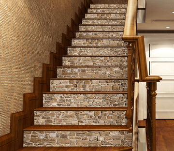 3D Vintage Brick 669 Marble Tile Texture Stair Risers Wallpaper AJ Wallpaper