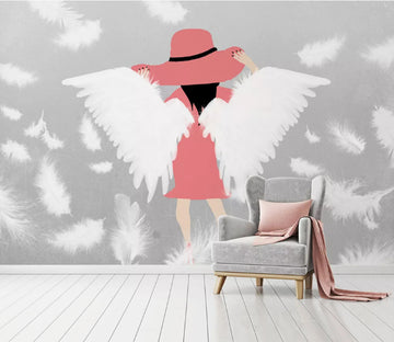 3D Girl White Wings WC1889 Wall Murals