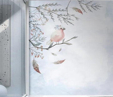 3D Pale Pink Cute Bird 2604 Wall Murals