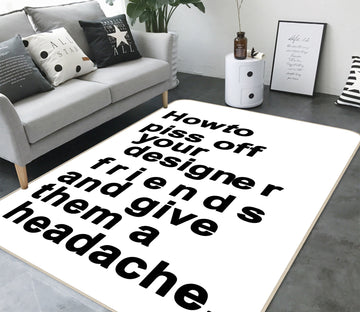 3D The Headache White 1122 Boris Draschoff Rug Non Slip Rug Mat