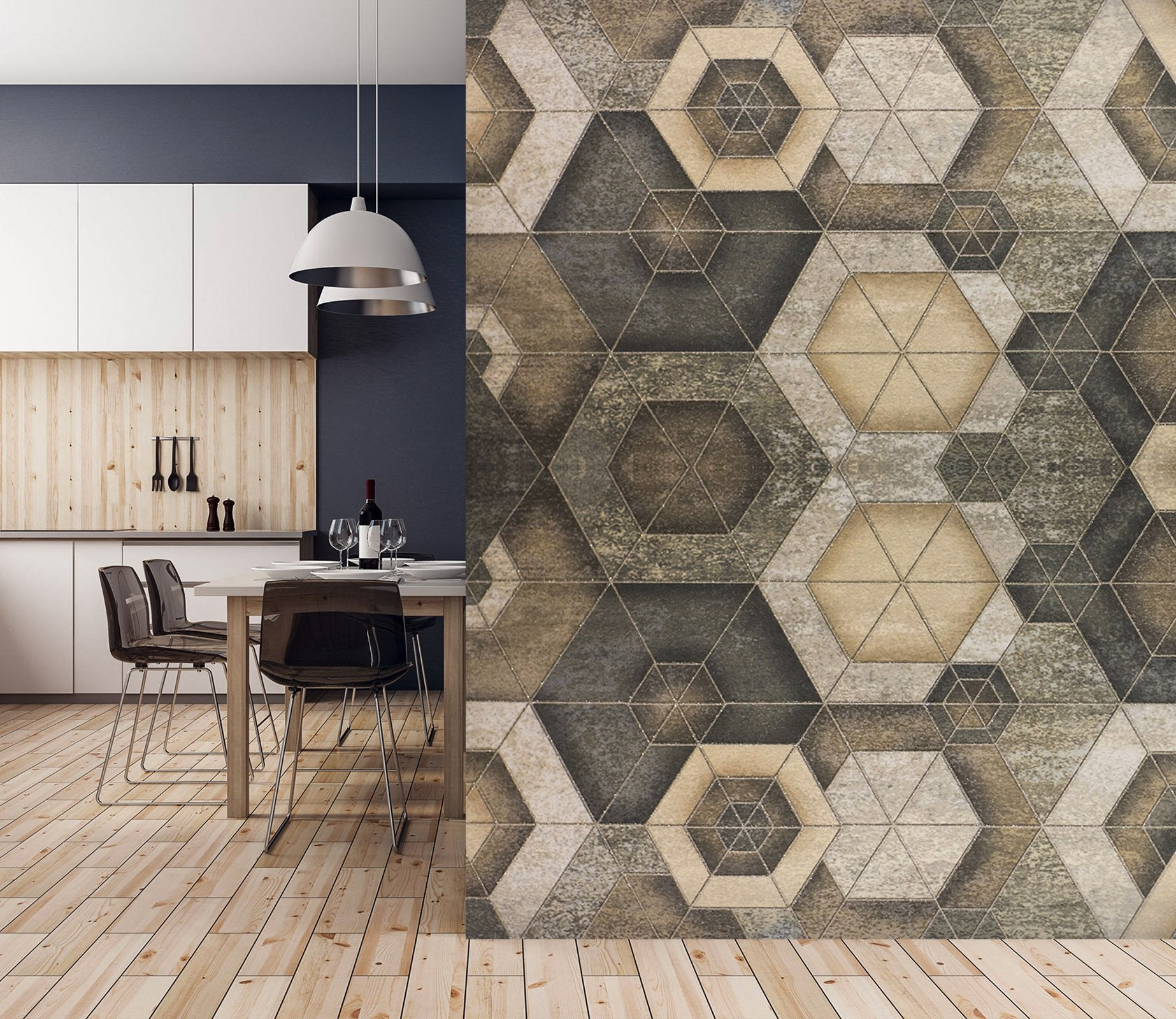 3D Hexagonal Combination 089 Marble Tile Texture Wallpaper AJ Wallpaper 2