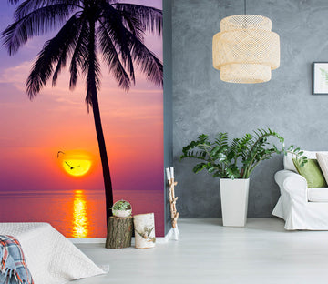 3D Sunset Coconut Tree 1457 Marco Carmassi Wall Mural Wall Murals