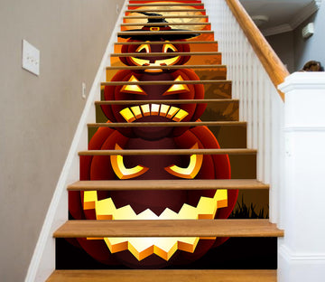 3D Three Emoji Of Pumpkins 653 Stair Risers
