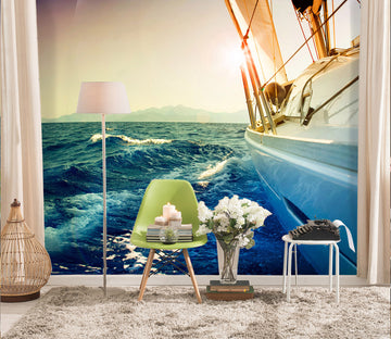 3D Sunset Yacht Sea 409 Vehicle Wall Murals