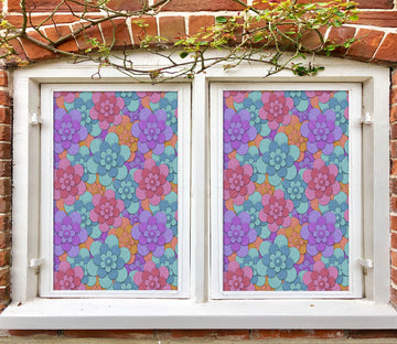 3D Flower Shape 206 Window Film Print Sticker Cling Stained Glass UV Block