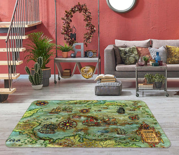 3D Abstract Art 294 World Map Non Slip Rug Mat