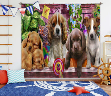 3D Cute Dog 046 Adrian Chesterman Curtain Curtains Drapes