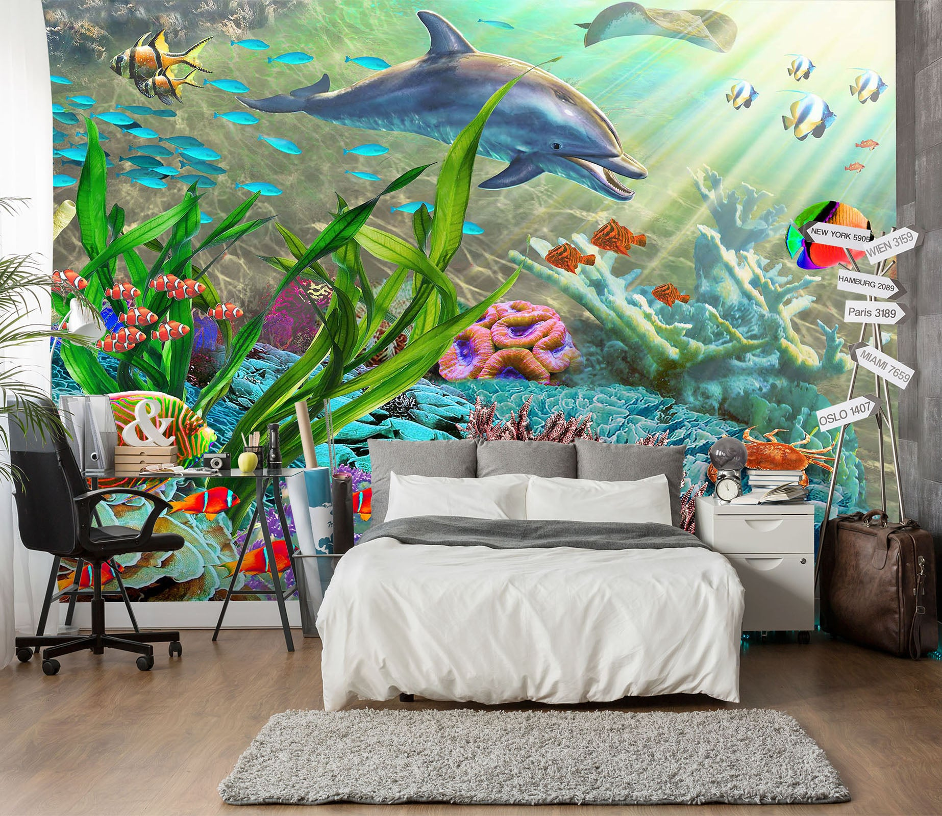 3D Happy Dolphin 1412 Adrian Chesterman Wall Mural Wall Murals