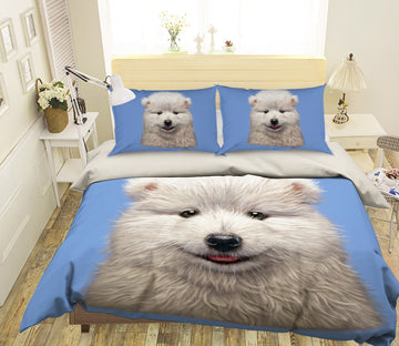 3D Samoyed Puppy 074 Bed Pillowcases Quilt Exclusive Designer Vincent