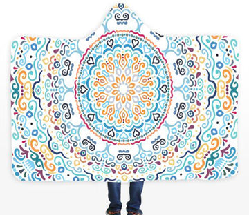 3D Round Pattern 089 Hooded Blanket