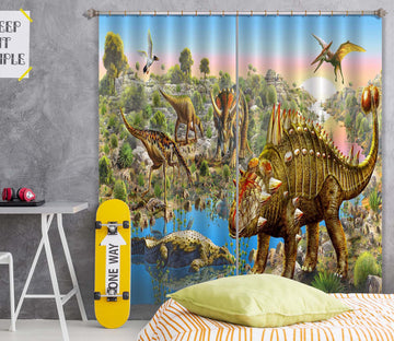 3D Dinosaur Forest 042 Adrian Chesterman Curtain Curtains Drapes