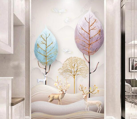3D Color Forest WC16 Wall Murals