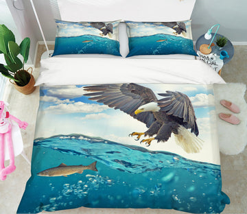 3D Sea Eagle 1953 Bed Pillowcases Quilt