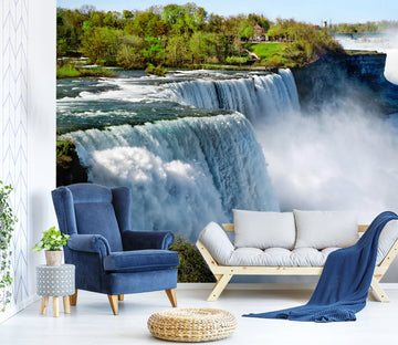 3D White Waterfall 33 Wall Murals